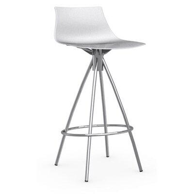 Ice 25.6 inch Bar Stool Upholstery: Glossy Optic White, Finish: Chromed