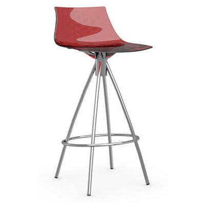 Ice 25.6 Bar Stool Finish: Chromed, Upholstery: Transparent Red