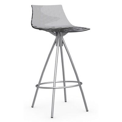 Ice 25.6 inch Bar Stool Finish: Satin Steel, Upholstery: Transparent Smoked Grey
