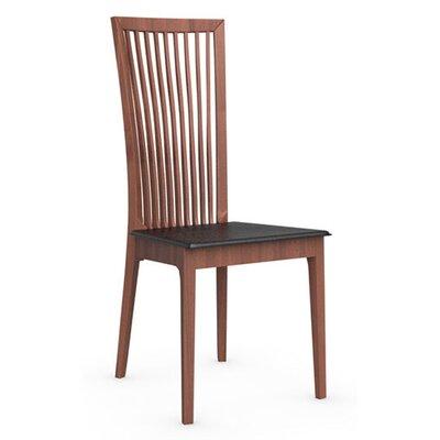 Philadelphia Chair Upholstery: Black Leather, Finish: Walnut