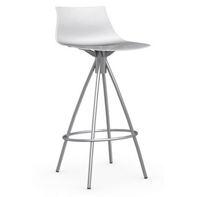 Ice 25.6 inch Bar Stool Finish: Satin Steel, Upholstery: Glossy Optic White