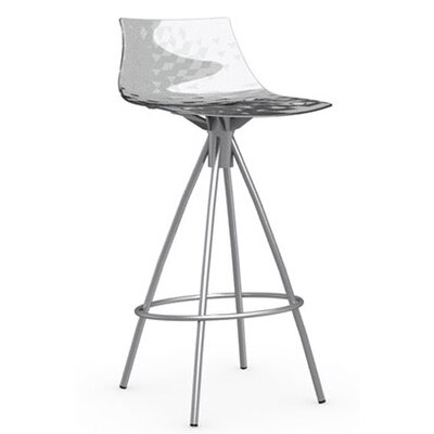 Ice 25.6 Bar Stool Finish: Satin Steel, Upholstery: Transparent