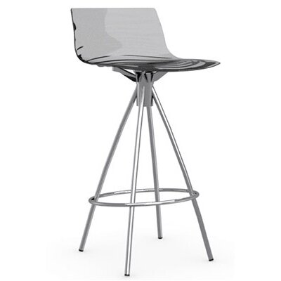 LEau 25.63 Bar Stool Finish: Chromed, Upholstery: Transparent Smoked Grey