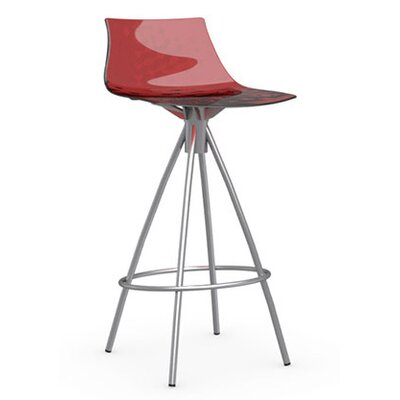 Ice 25.6 Bar Stool Finish: Satin Steel, Upholstery: Transparent Red