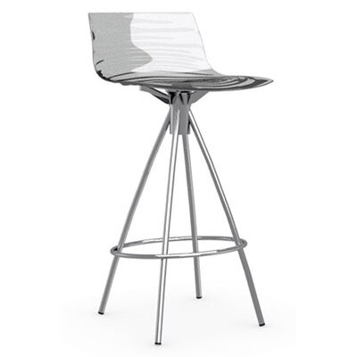 LEau 25.63 Bar Stool Finish: Satin Steel, Upholstery: Transparent