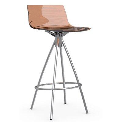 LEau 25.63 Bar Stool Finish: Chromed, Upholstery: Transparent Orange