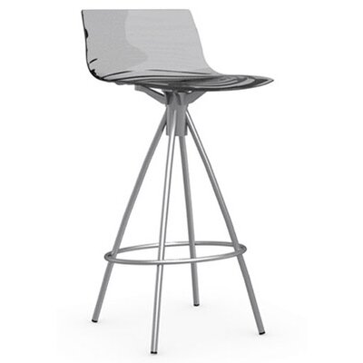 LEau 25.63 Bar Stool Finish: Satin Steel, Upholstery: Transparent Smoked Grey