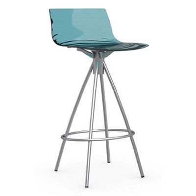 LEau 25.63 Bar Stool Finish: Satin Steel, Upholstery: Transparent Aquamarine