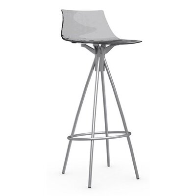 Ice 31.5 inch Bar Stool Finish: Satin Steel, Upholstery: Transparent Smoked Grey