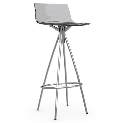 LEau 31.5 Bar Stool Finish: Chromed, Upholstery: Transparent Smoked Grey
