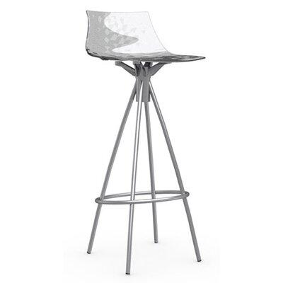 Ice 31.5 inch Bar Stool Finish: Satin Steel, Upholstery: Transparent