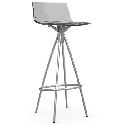 LEau 31.5 Bar Stool Finish: Satin Steel, Upholstery: Transparent Smoked Grey