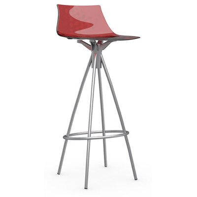 Ice 31.5 inch Bar Stool Finish: Satin Steel, Upholstery: Transparent Red