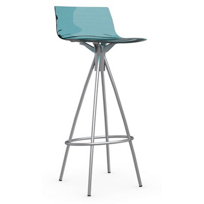 LEau 31.5 Bar Stool Upholstery: Transparent Aquamarine, Finish: Satin Steel