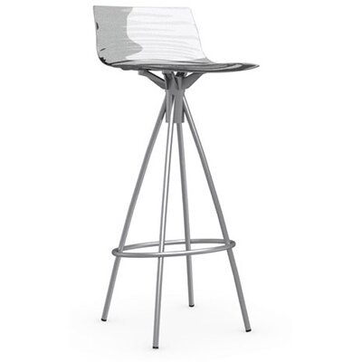 LEau 31.5 Bar Stool Finish: Satin Steel, Upholstery: Transparent