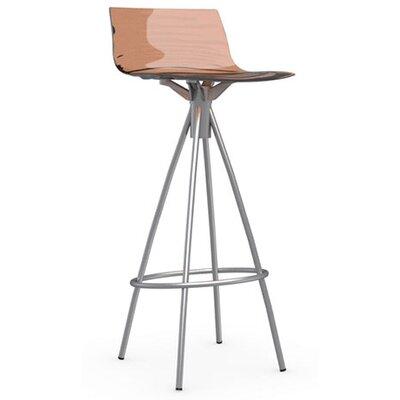 LEau 31.5 Bar Stool Upholstery: Transparent Orange, Finish: Satin Steel