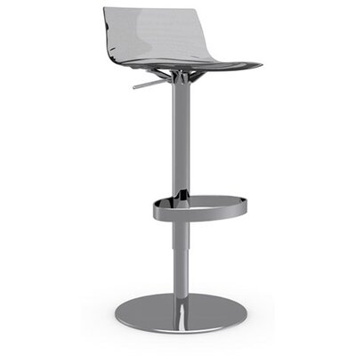 LEau Adjustable Height Swivel Bar Stool Frame Finish: Chromed, Upholstery: Transparent Smoked Grey