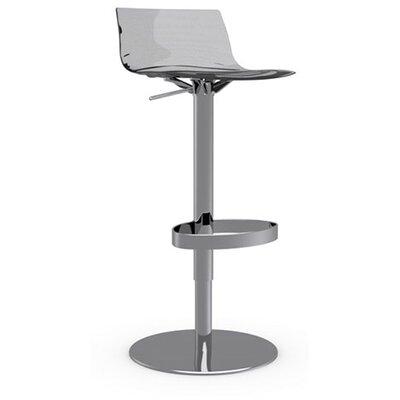 LEau Adjustable Height Swivel Bar Stool Frame Finish: Chromed, Upholstery: Transparent Smoked Grey