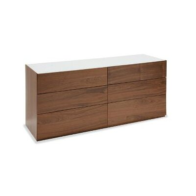 City 6 Drawer Double Dresser Top Color: Frosted Taupe, Bottom Color: Walnut