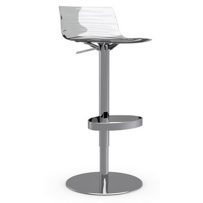 LEau Adjustable Height Swivel Bar Stool Frame Finish: Chromed, Upholstery: Transparent