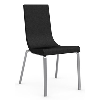 Cruiser Upholstered Dining Chair Leg Color: Satin Finished Steel, Upholstery Color: Denver Anthracite