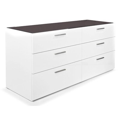 Jersey 6 Drawer Double Dresser Top Color: Frosted Extra White