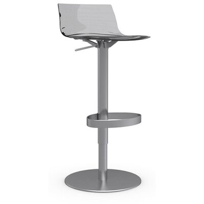 LEau Adjustable Height Swivel Bar Stool Frame Finish: Satin Steel, Upholstery: Transparent Smoked Grey