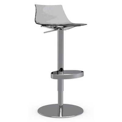 Ice Adjustable Height Swivel Bar Stool Frame Finish: Chromed, Upholstery: Transparent Smoked Grey