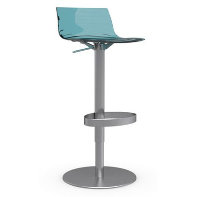 LEau Adjustable Height Swivel Bar Stool Frame Finish: Satin Steel, Upholstery: Transparent Aquamarine