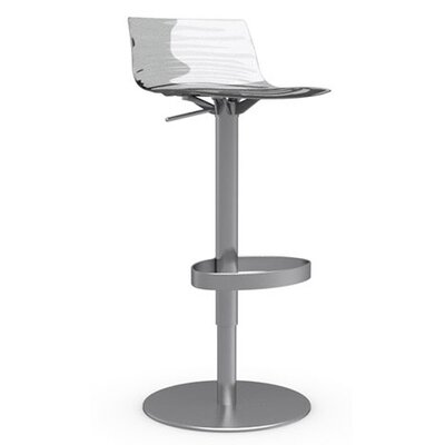 LEau Adjustable Height Swivel Bar Stool Frame Finish: Satin Steel, Upholstery: Transparent
