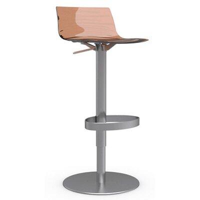 LEau Adjustable Height Swivel Bar Stool Upholstery: Transparent Orange, Frame Finish: Satin Steel
