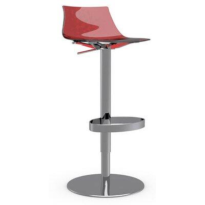 Ice Adjustable Height Swivel Bar Stool Frame Finish: Chromed, Upholstery: Transparent Red