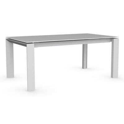 Omnia Extendable Dining Table Base Finish: Matte Optic White, Top Finish: Frosted Acid Etched Extra White