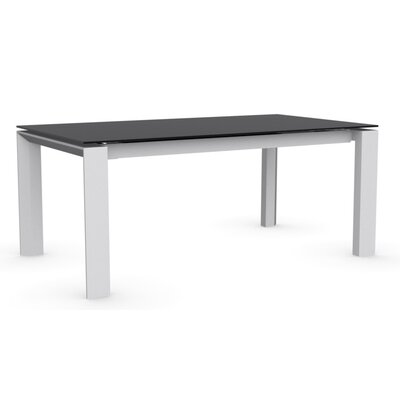 Omnia Extendable Dining Table Base Finish: Matte Optic White, Top Finish: Frosted Black