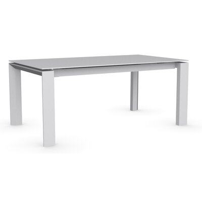Omnia Extendable Dining Table Base Finish: Matte Optic White, Top Finish: Frosted Extra White