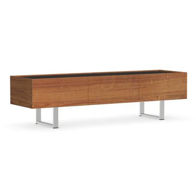Horizon 3 Door Low TV Stand Finish: Walnut, Glass Color: Frosted Black