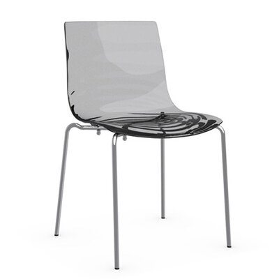 LEau 4 Leg Base Side Chair Frame Finish: Chromed, Upholstery: Transparent Smoked Grey