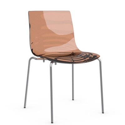 LEau 4 Leg Base Side Chair Frame Finish: Chromed, Upholstery: Transparent Orange