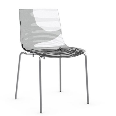 LEau 4 Leg Base Side Chair Frame Finish: Chromed, Upholstery: Transparent