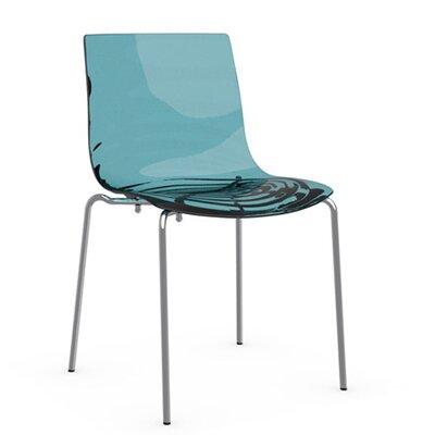 LEau 4 Leg Base Side Chair Frame Finish: Chromed, Upholstery: Transparent Aquamarine