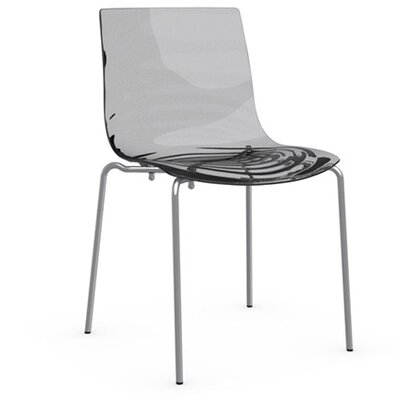 L'Eau 4 Leg Base Side Chair Upholstery: Transparent Smoked Grey, Frame Finish: Satin Steel