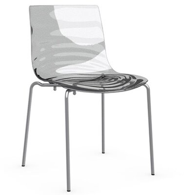 L'Eau 4 Leg Base Side Chair Upholstery: Transparent, Frame Finish: Satin Steel