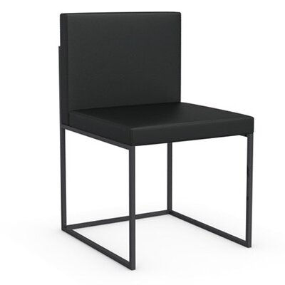 Even Plus Genuine Leather Upholstered Dining Chair Frame Color: Black Nickel, Upholstery Color: Black