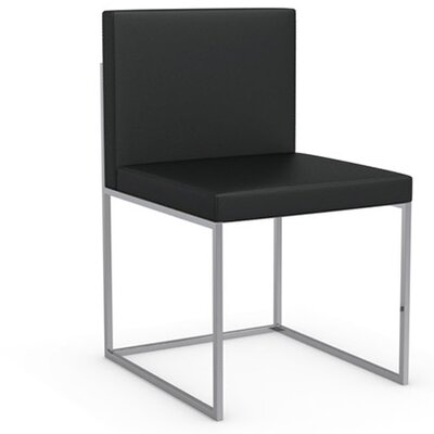 Even Plus Genuine Leather Upholstered Dining Chair Upholstery: Black, Frame Finish: Chromed