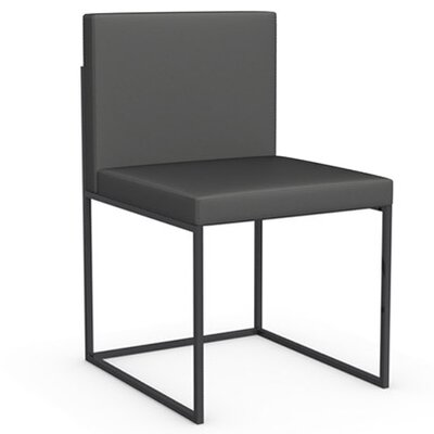 Even Plus Genuine Leather Upholstered Dining Chair Frame Color: Black Nickel, Upholstery Color: Taupe