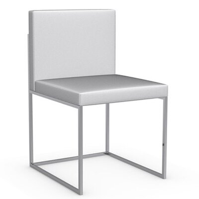 Even Plus Genuine Leather Upholstered Dining Chair Upholstery: Optic White, Frame Finish: Chromed