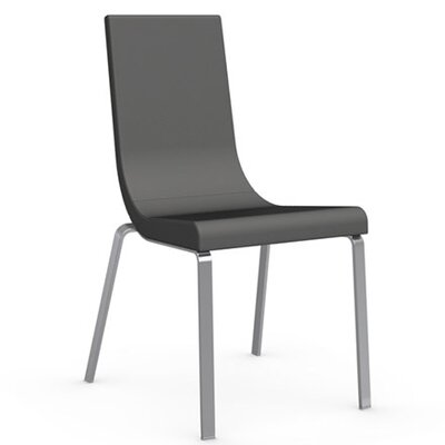 Cruiser Genuine Leather Upholstered Dining Chair Upholstery Color: Taupe, Leg Color: Satin Finished Steel