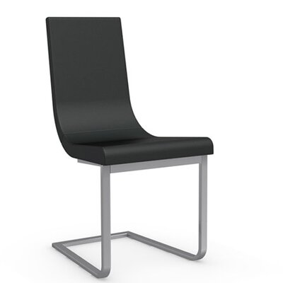 Cruiser Cantilever Chair Frame Finish: Satin Finished Steel, Upholstery: Leather - Black