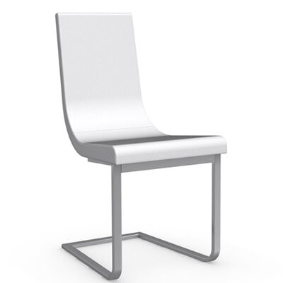 Cruiser Cantilever Chair Frame Color: Satin Finished Steel, Upholstery Color: Optic White