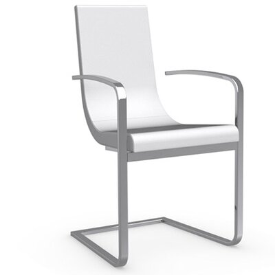 Cruiser Cantilever Arm Chair Upholstery: Leather - Optic White, Frame Finish: Chromed